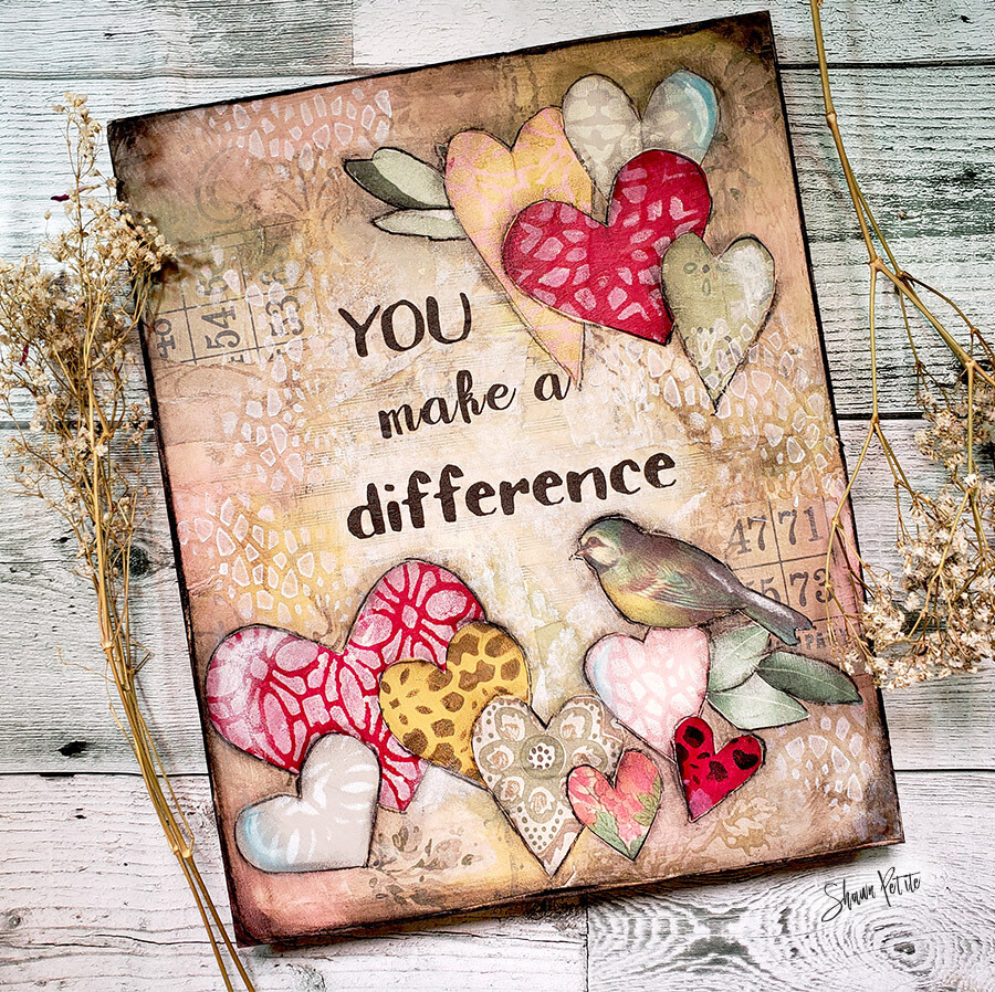 You make a difference mixed media original 8x10 clearance