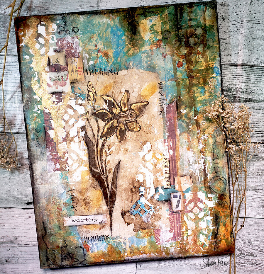 Worthy 11x14 mixed media original on wood