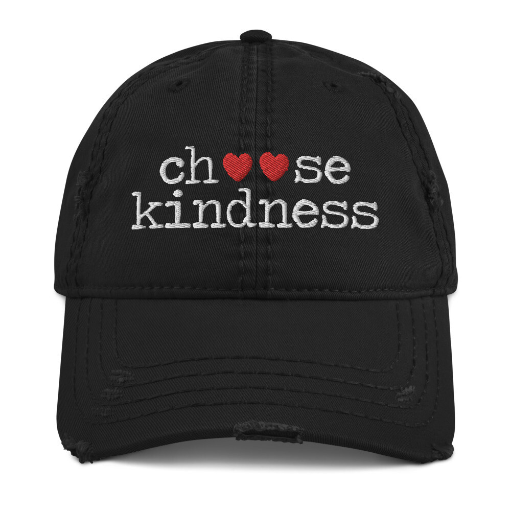 """Choose Kindness"" Red Hearts Distressed Hat"
