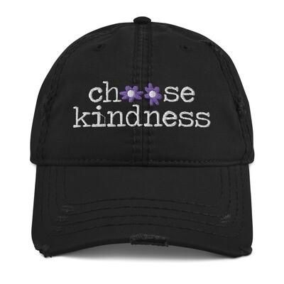 """""""Choose Kindness"""" Purple Flowers Distressed Hat"""