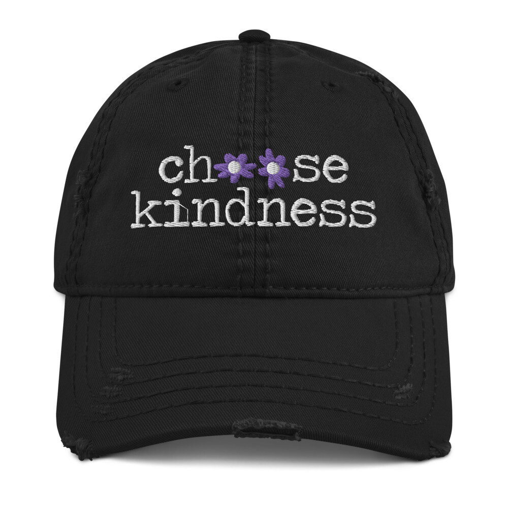 """Choose Kindness"" Purple Flowers Distressed Hat"