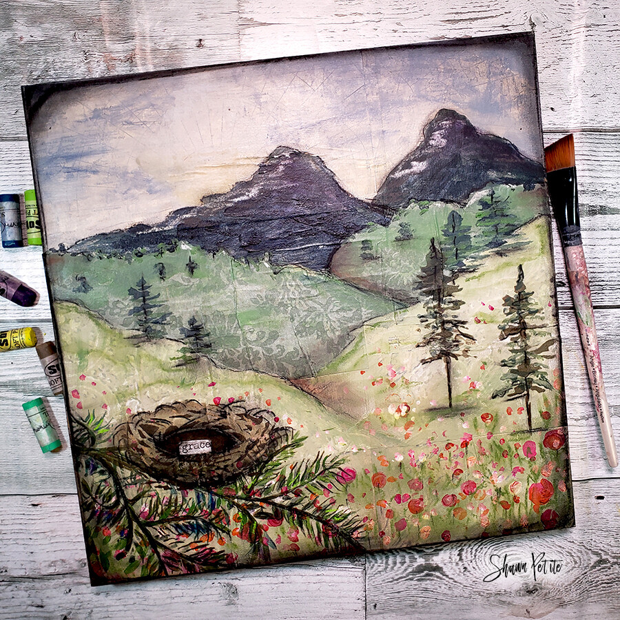 Grace and the mountain 12x12 mixed media original