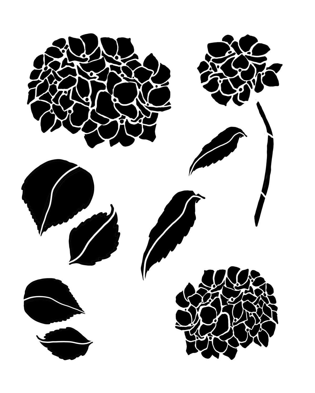 Hydrangea trio stencil 8x10