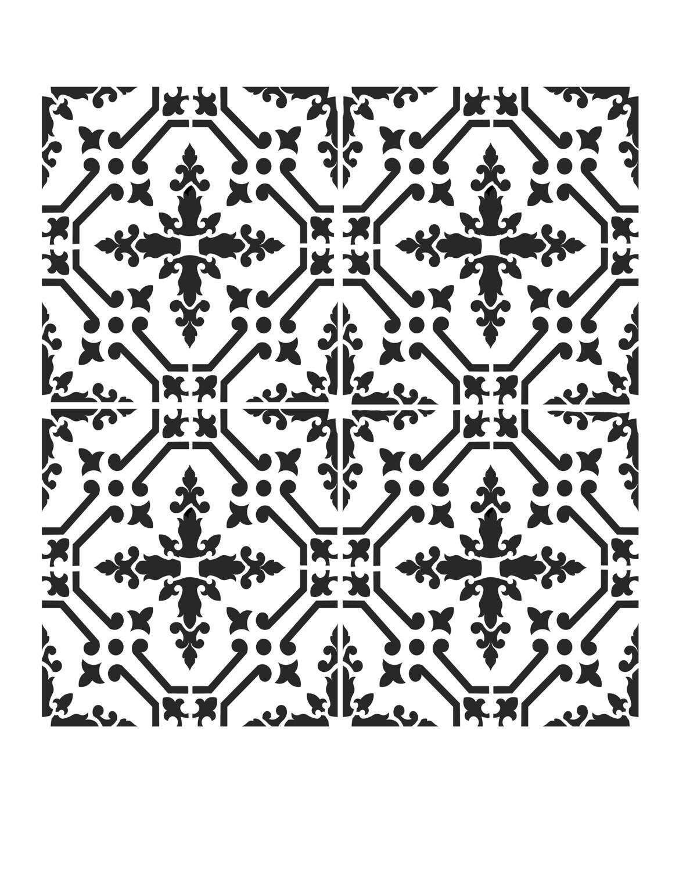 Moroccan Tile 3 stencil 12x16