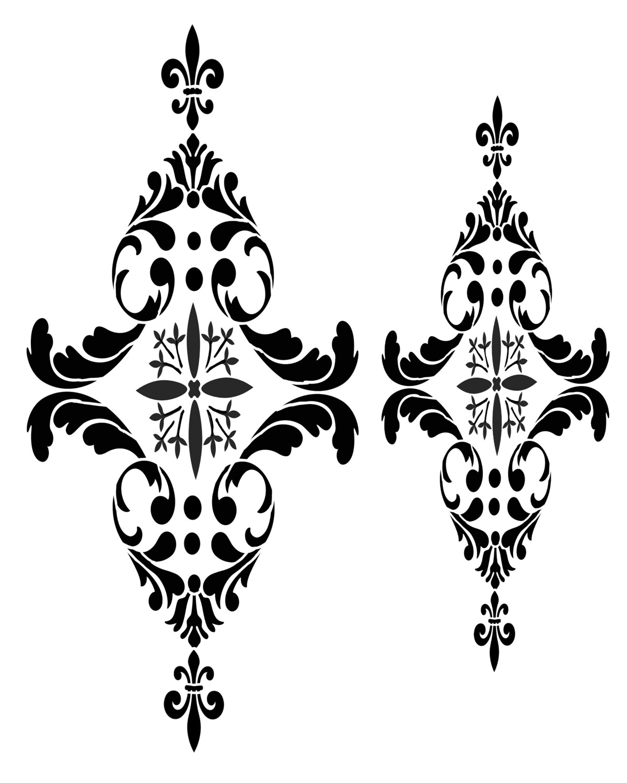 Paris Flourish 2 stencil 12x16