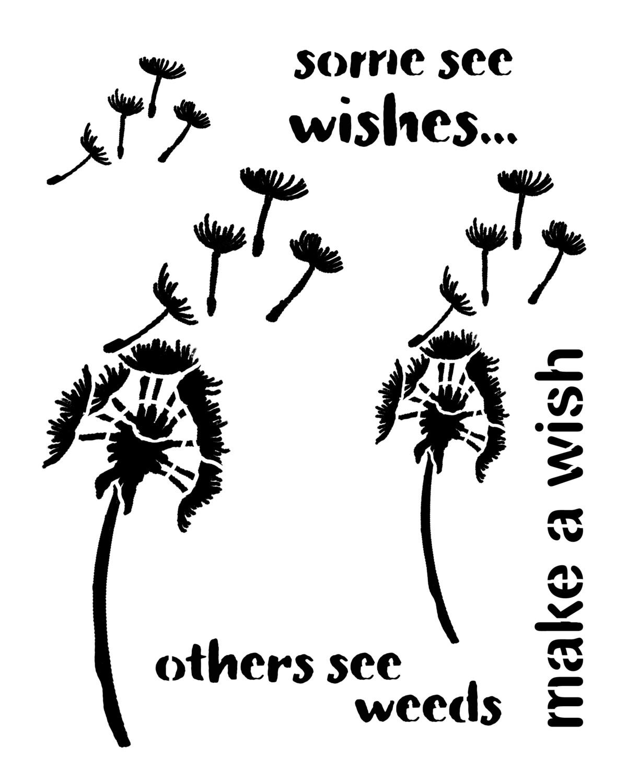 Make A Wish stencil 8x10