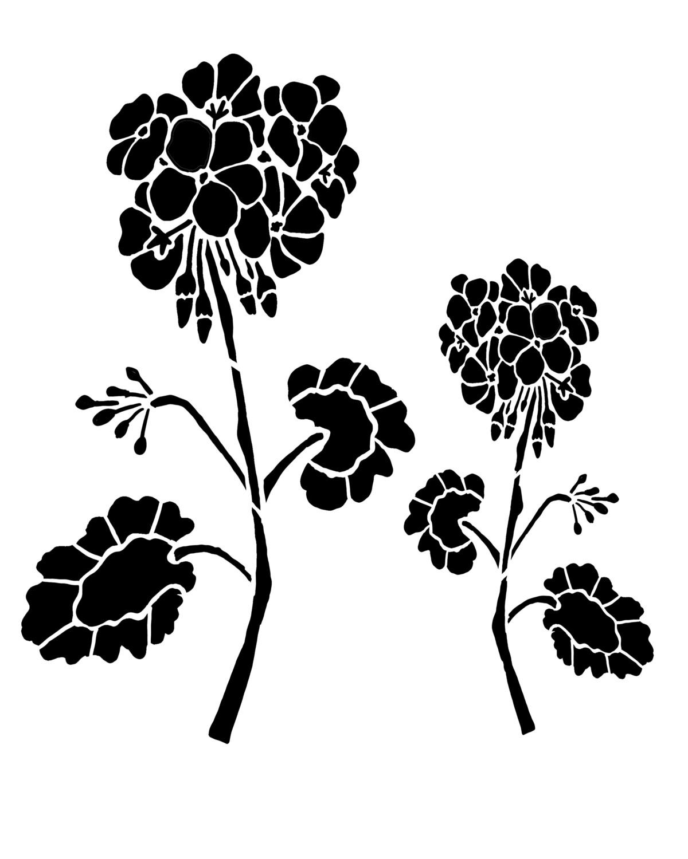 Geraniums 12x16 stencil