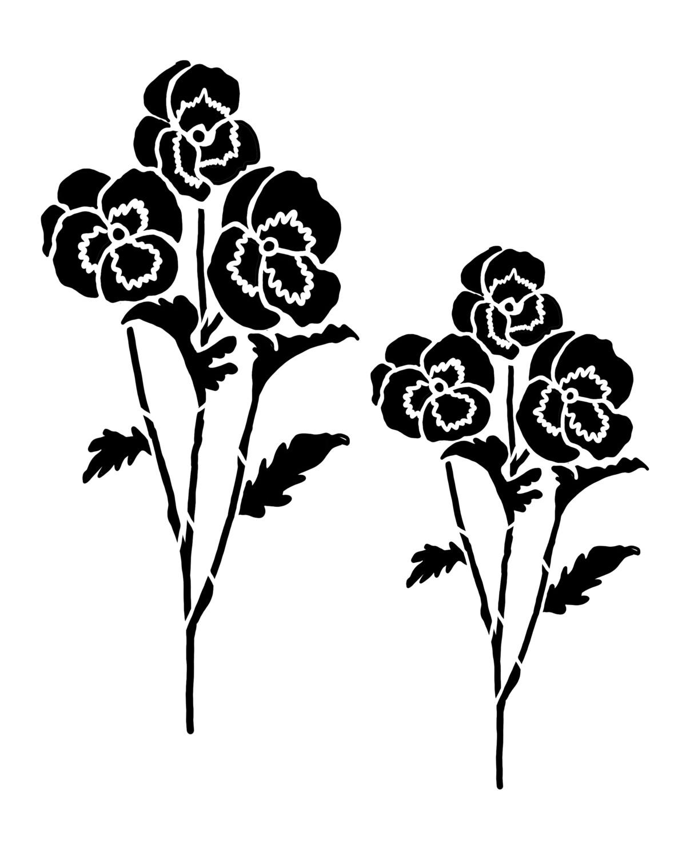 Pansy Flower stencil 12x16