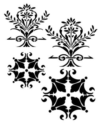 Paris Elements 1 stencil 12x16