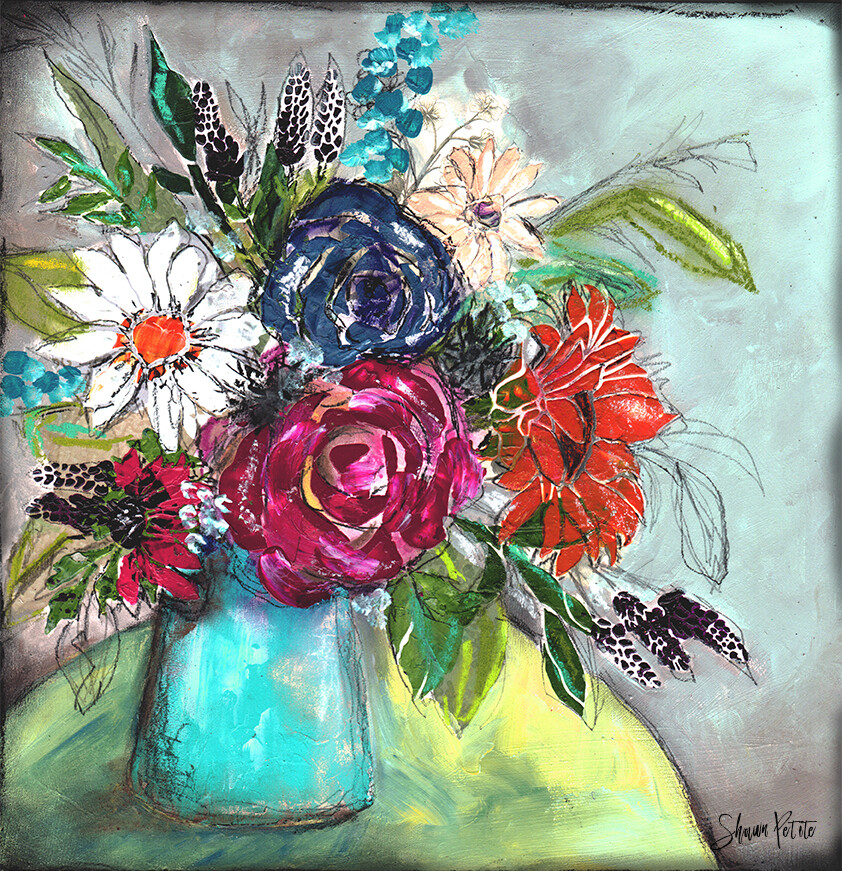 Start where you are mixed media floral, Print on Wood and Print to be Framed