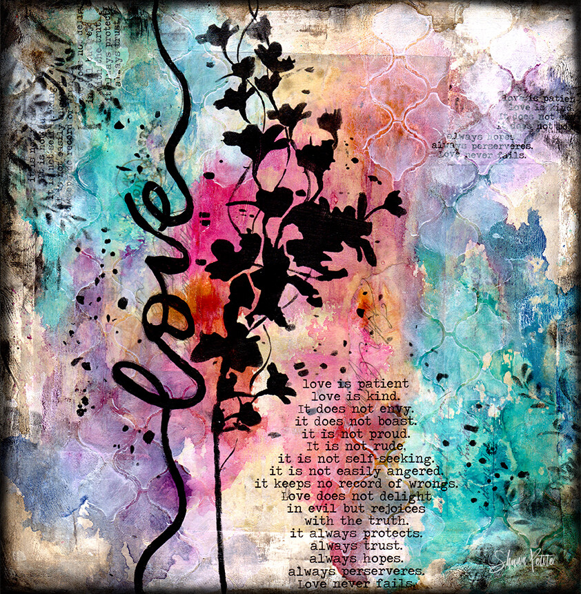 Love is patient black flower mixed media original 12x12