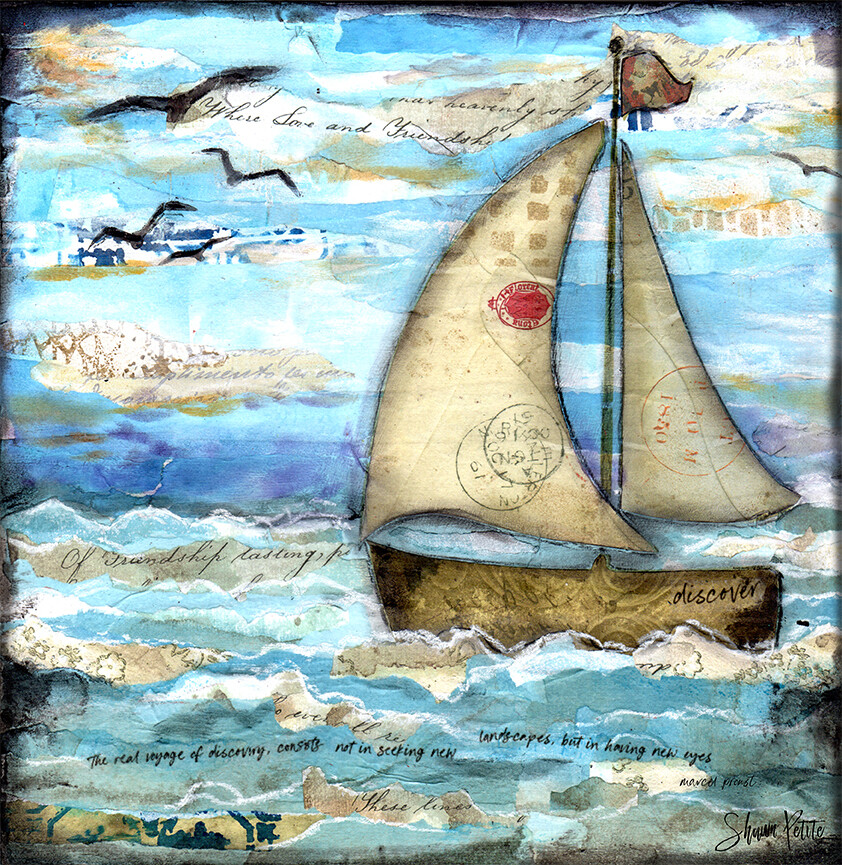 Voyage of discovery 12x12 mixed media original