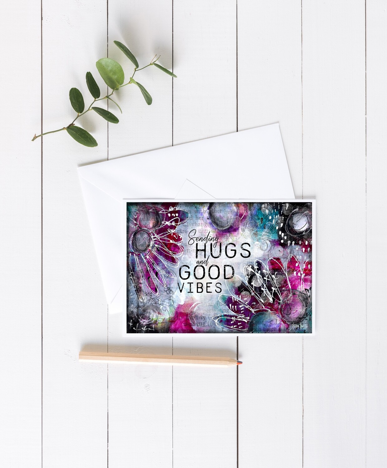 """Sending Hugs"" 7x5 4 pack card"