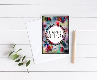 """""""Happy Birthday"""" abstract 5x7 4 pack card"""