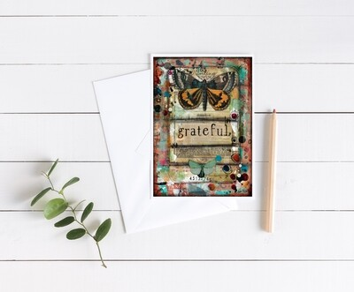 """""""Grateful"""" butterfly 5x7 4 pack card"""
