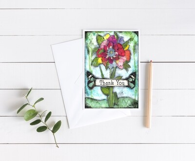 """""""Thank You"""" flower 5x7 4 pack card"""