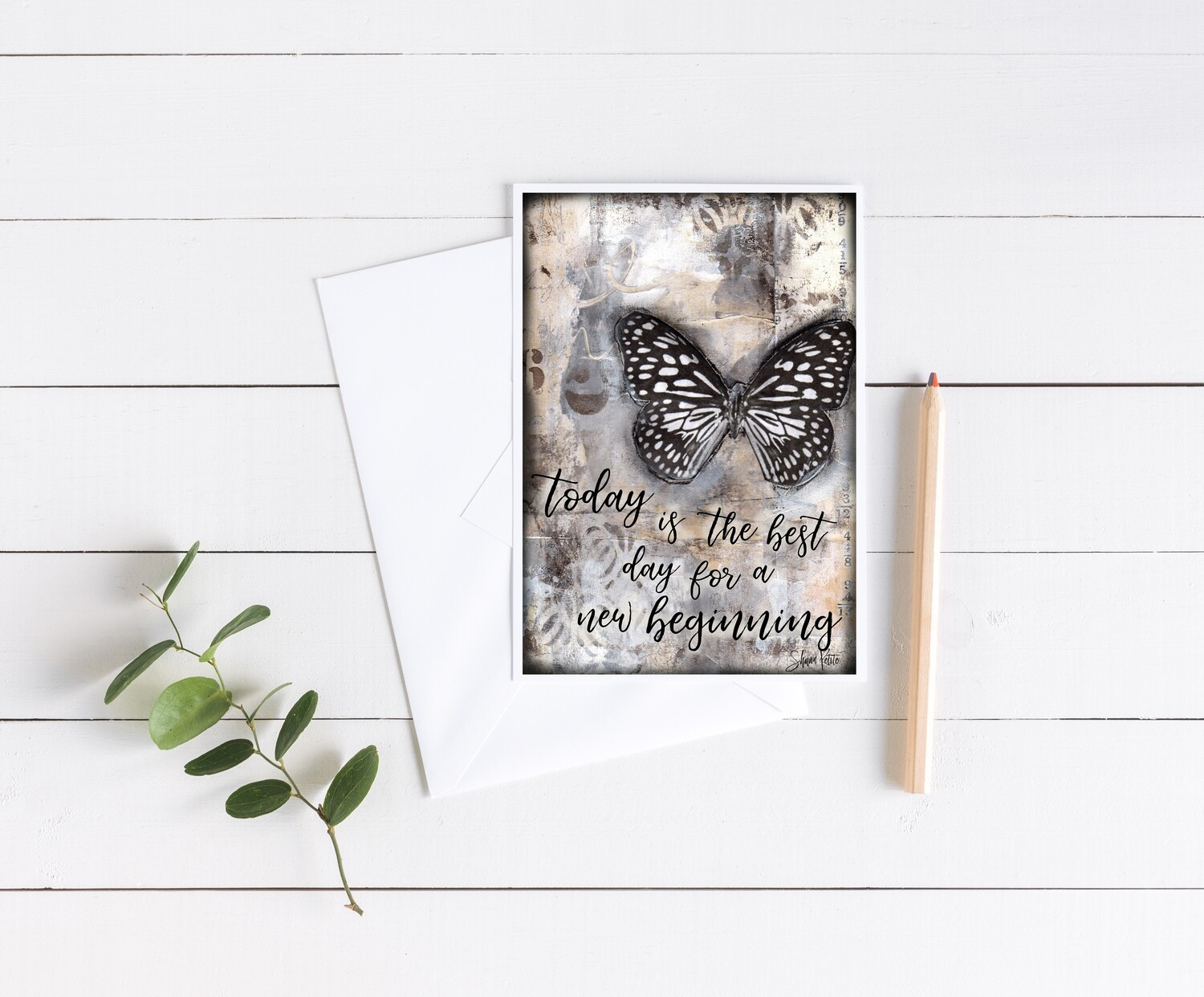 """""""Today is the best day for a New Beginning"""" butterfly 5x7 4 pack card"""