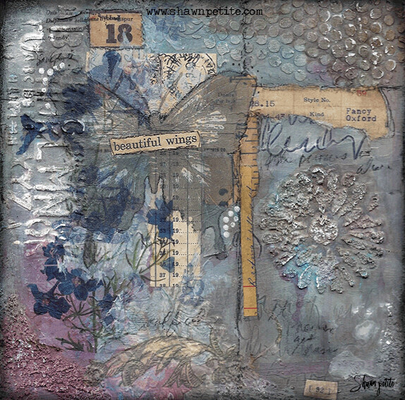 """***CLAIMED**""""Beautiful Wings"""" 8x8 mixed media original for birthday week AVAILABLE TUESDAY 9AM ISH EST."""