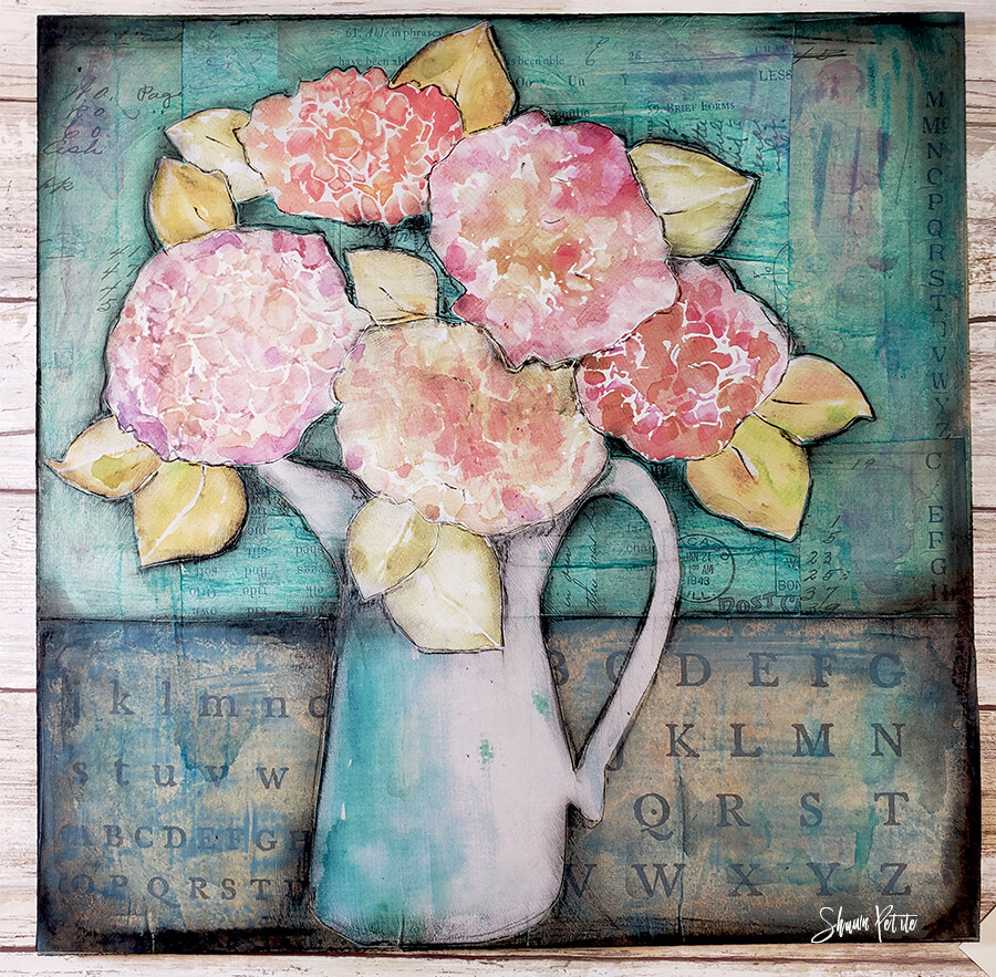"""Farmhouse Flowers"" 12x12 watercolor mixed media original"