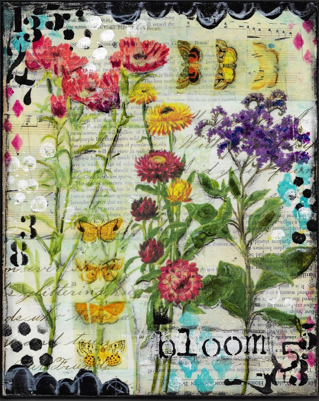 """""""Bloom"""" 8x10 mixed media original"""