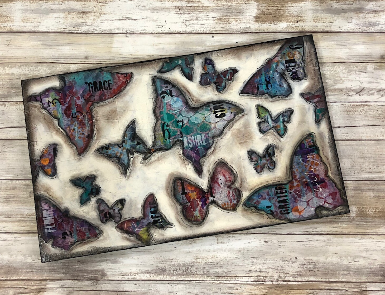 """Grace"" butterfly 12x20 mixed media original"