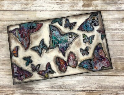 """Grace"" butterfly 12x20 mixed media original"