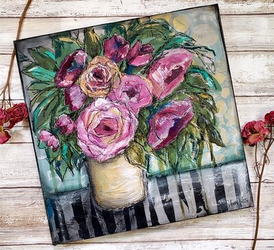 Striped table floral mixed media 12x12 original