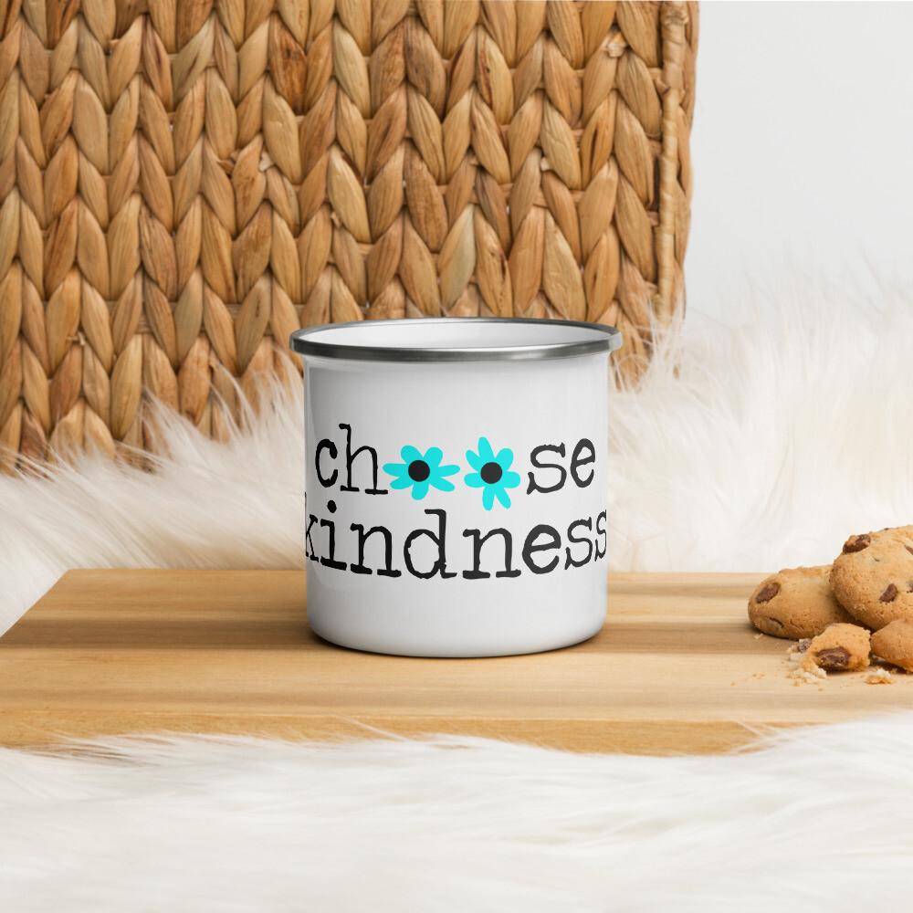 Choose Kindness teal flowers Enamel Mug