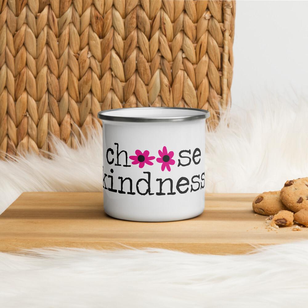 Choose Kindness pink flowers Enamel Mug