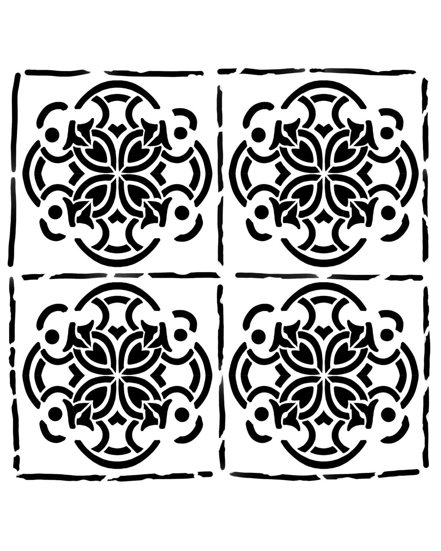 Spanish Tiles 2 stencil 8x10