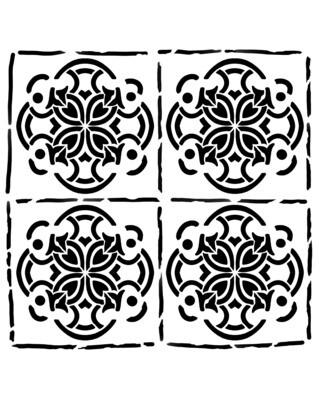 Spanish Tiles 2 stencil 12x12