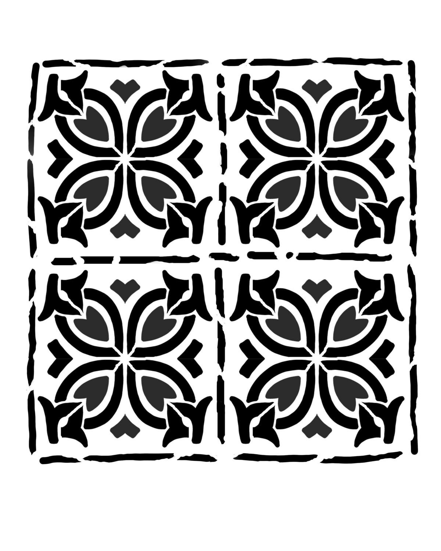 Spanish Tiles 1 stencil 8x10