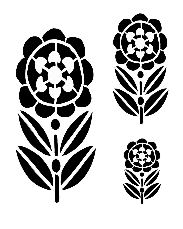 Whimsey Flower 2 stencil 12x16
