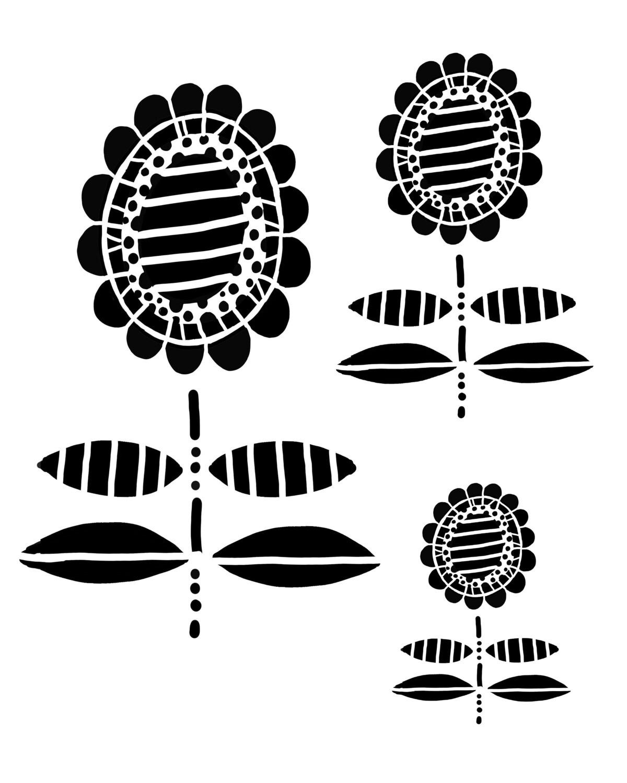 Whimsey Flower 1 stencil 8x10