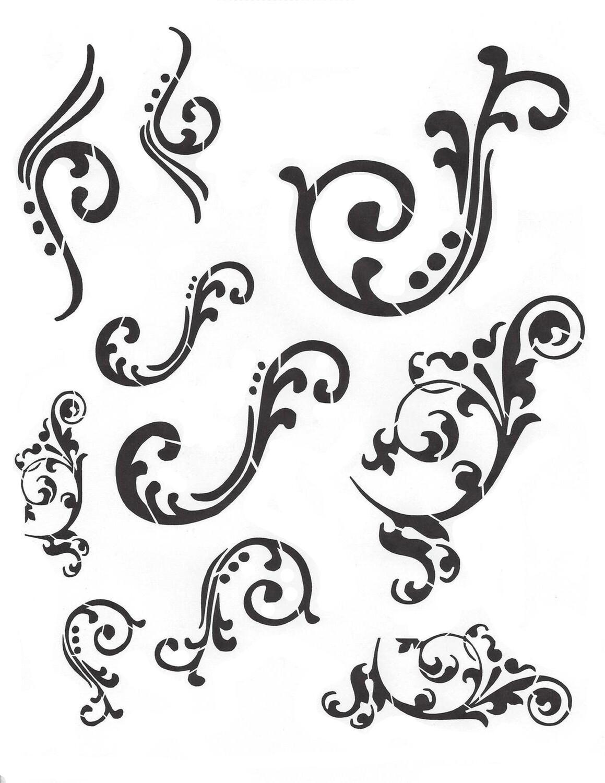 Flourish 8x10 Stencil