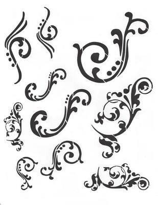 Flourish 12x16 Stencil