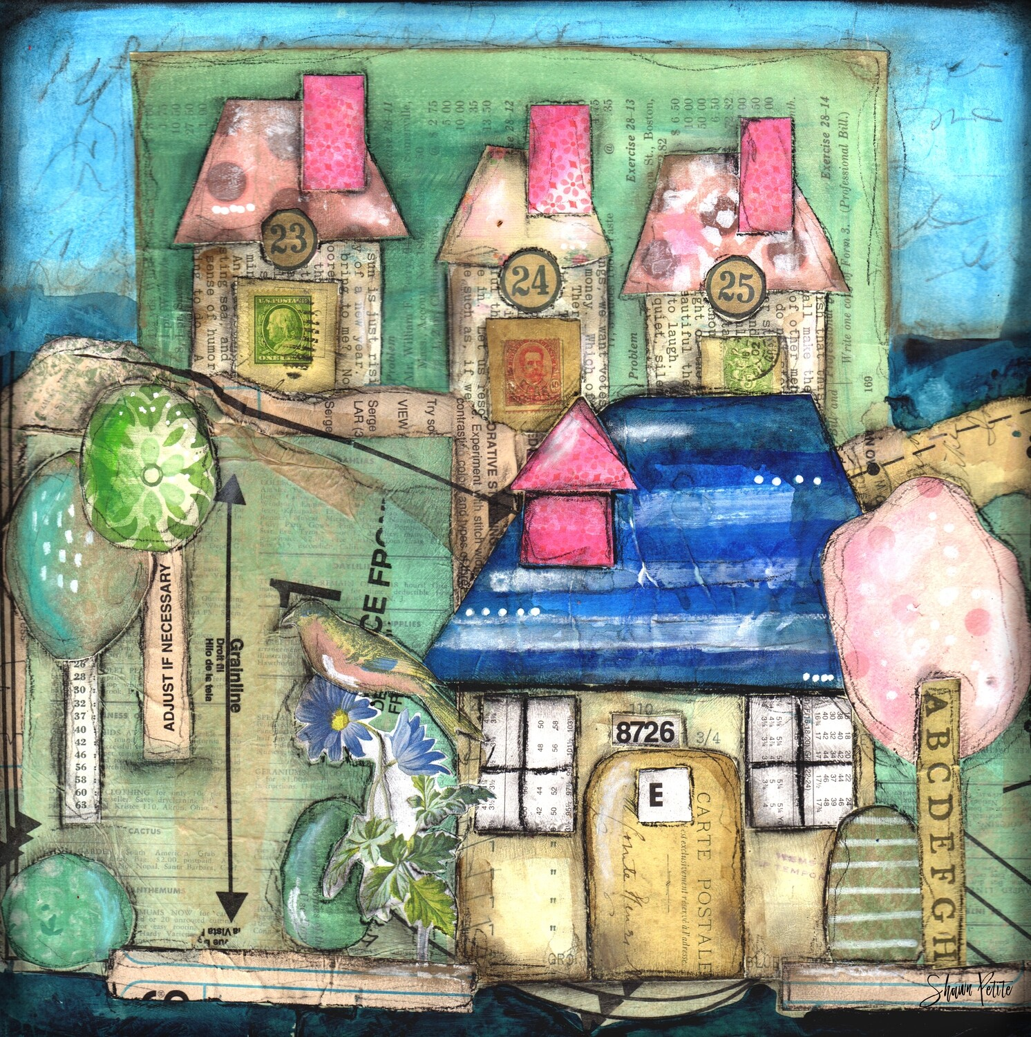 """""""Happy Home"""" 12x12 mixed media original to be framed clearance"""