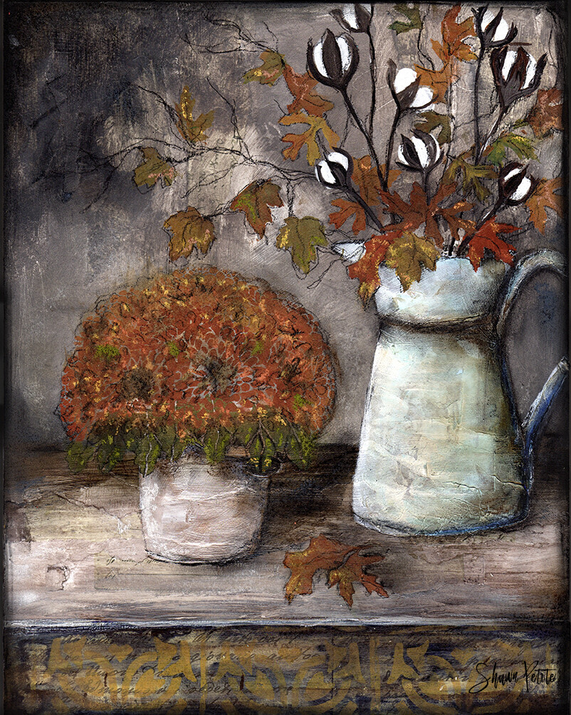 Fall moments 11x14 mixed media original