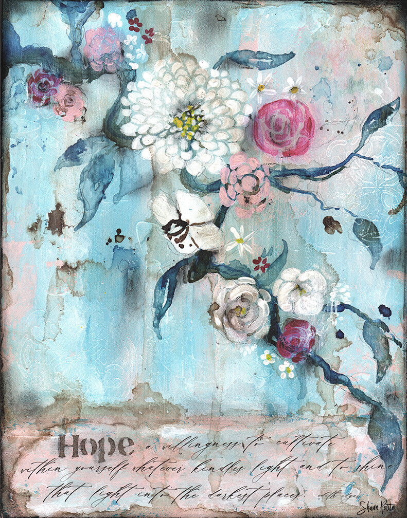 Hope in the darkness mixed media original 11x14