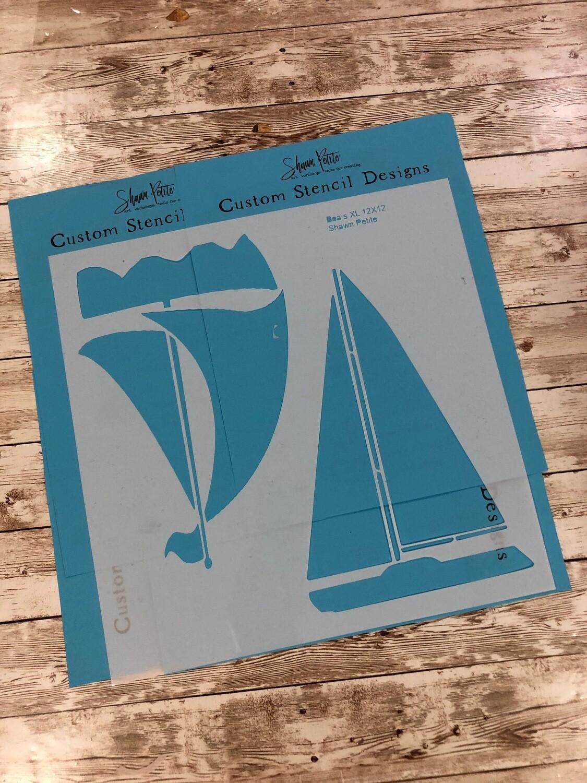 Boats XL 12x12 clearance stencil