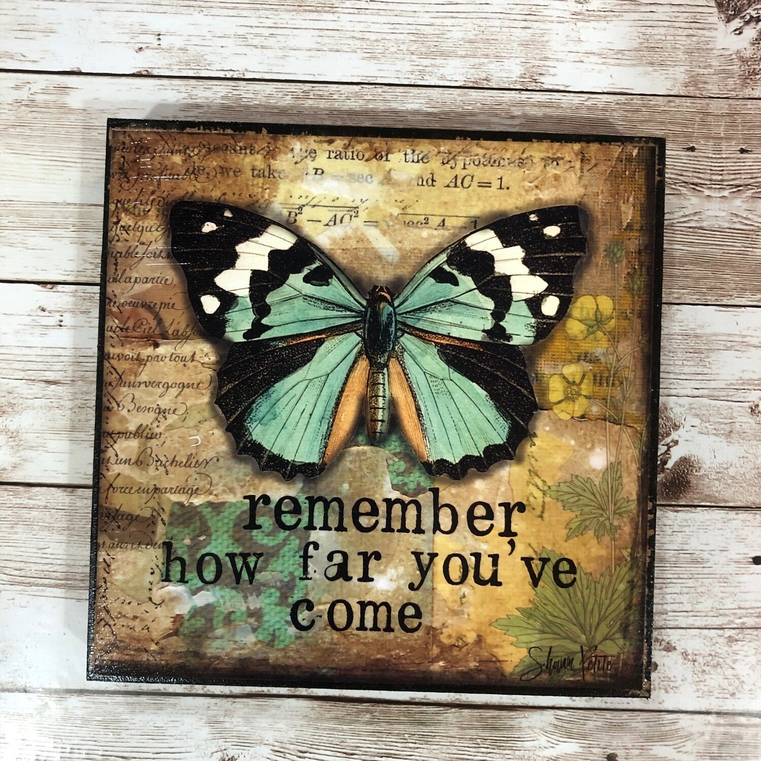 Remember How Far Print on Wood 6x6 Clearance