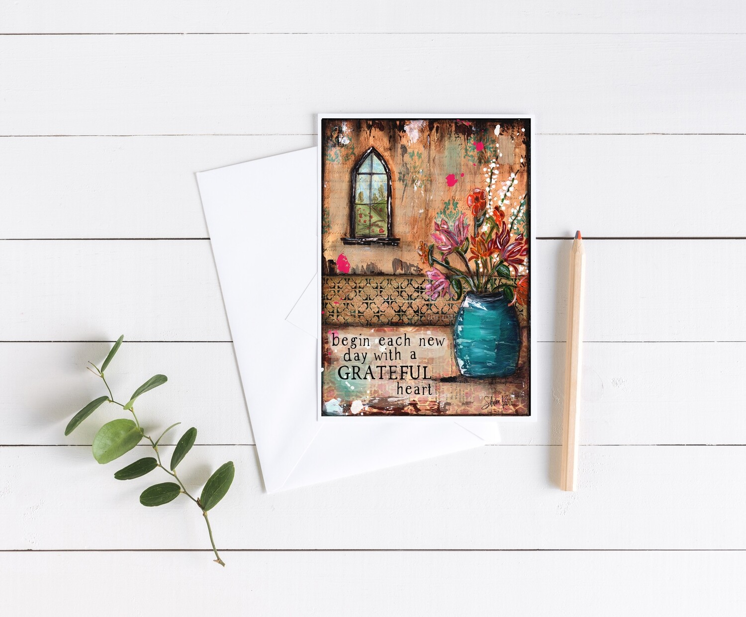 """Begin each day with a grateful heart"" 5x7 4 pack card"