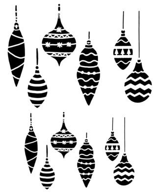 Hanging Ornaments stencil 8x10