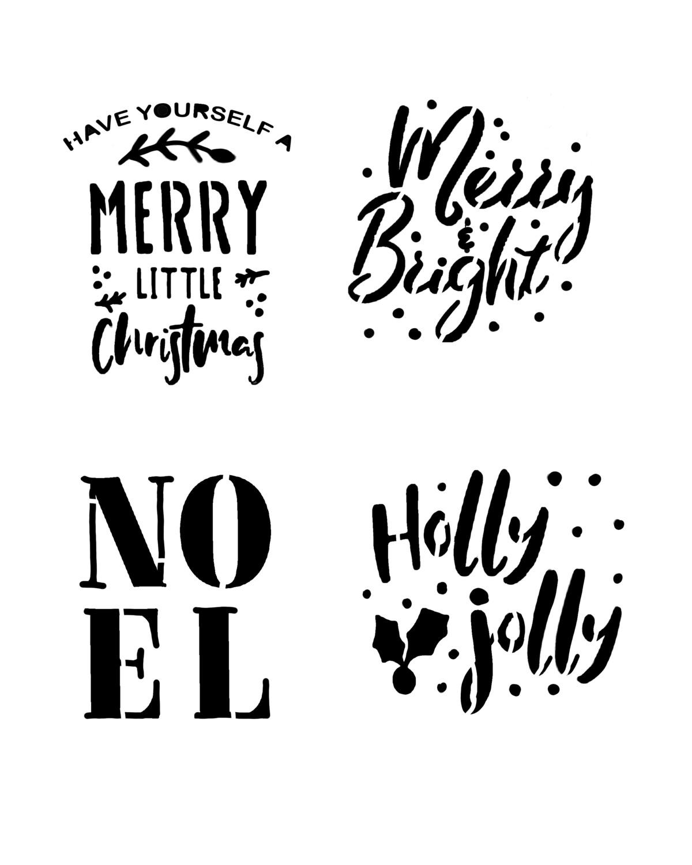 Holly Jolly Christmas words stencil 8x10