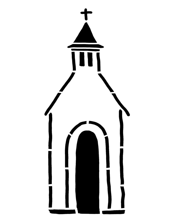 Rustic Church large 1 stencil 8x10