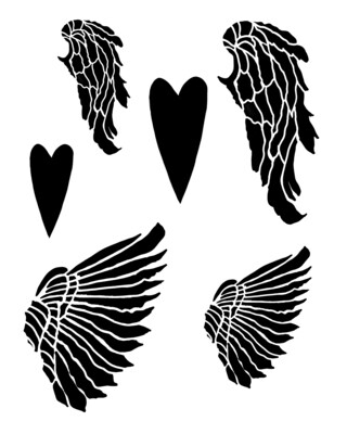 Wings and Hearts stencil 8x10