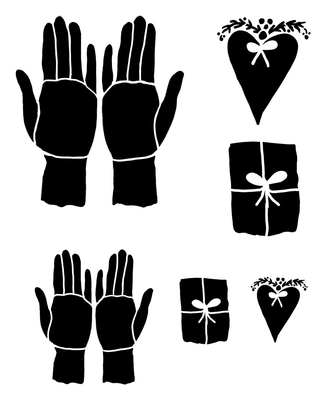 Giving Hands stencil 8x10