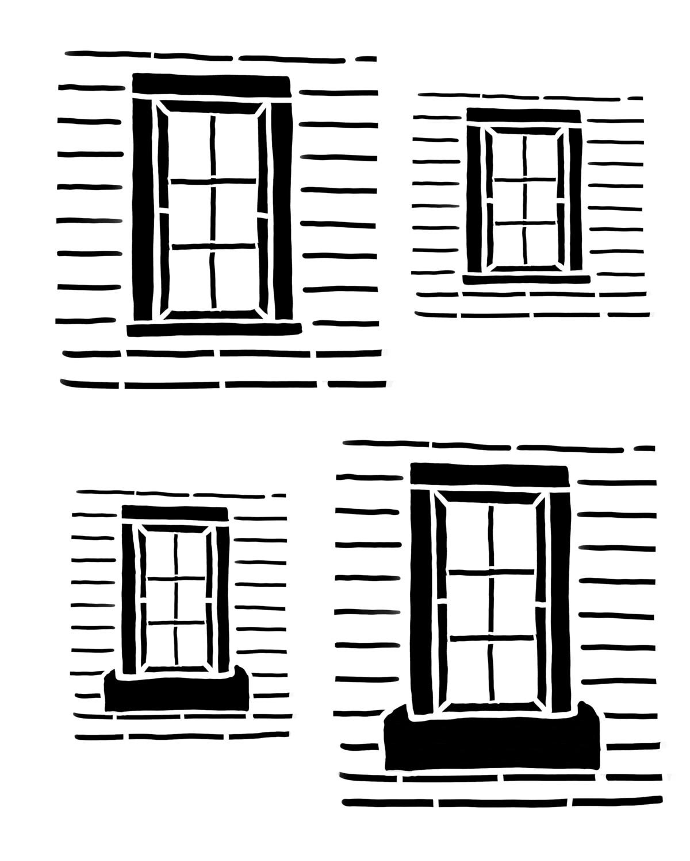 Rustic windows stencil 8x10