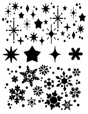 Snowflakes and Stars stencil 8x10