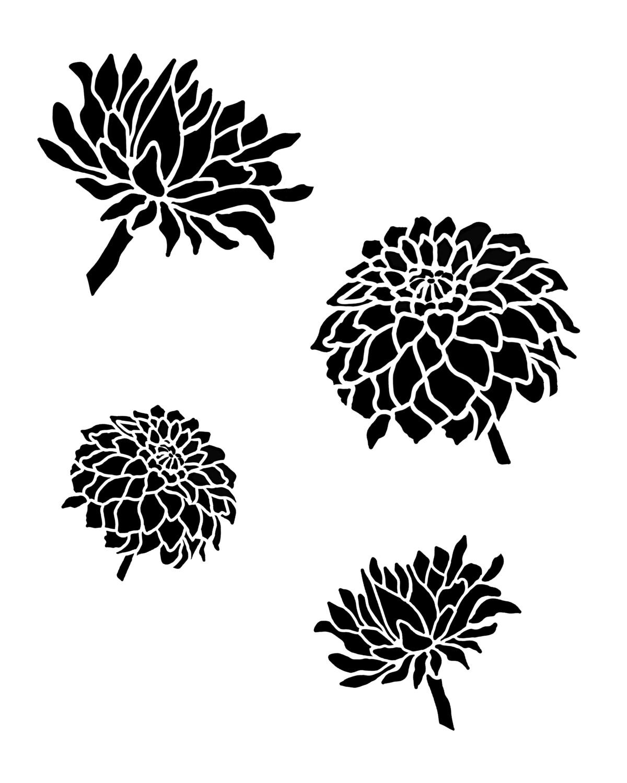 Vintage Dahlia stencil 8x10